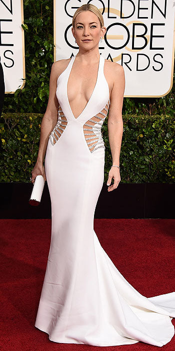 If it ain't broke, don't fix it. Kate Hudson has found a niche and it is white, low cut and  hugs every curve of her body.