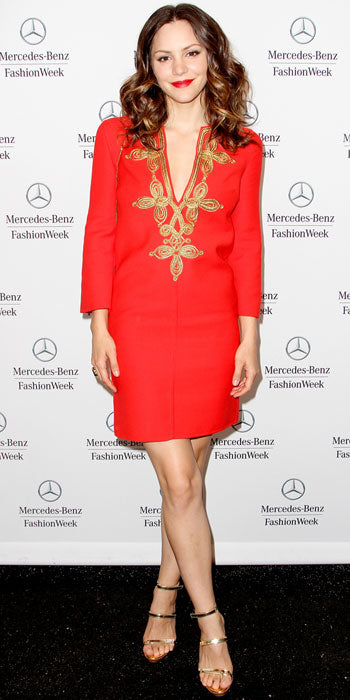 Katherine McPhee attends the Michael Kors show in a red hot embellished tunic