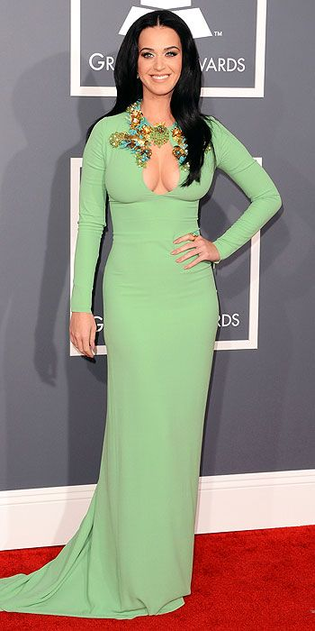 Katy Perry shows off some serious cleavage in an embellished seafoam gown