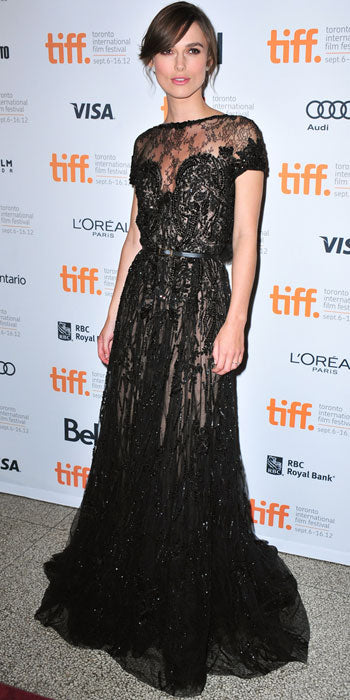 Keira Knightely brings the romance at the Toronto screening of Anna Karenina in an embellished lace Elie Saab gown