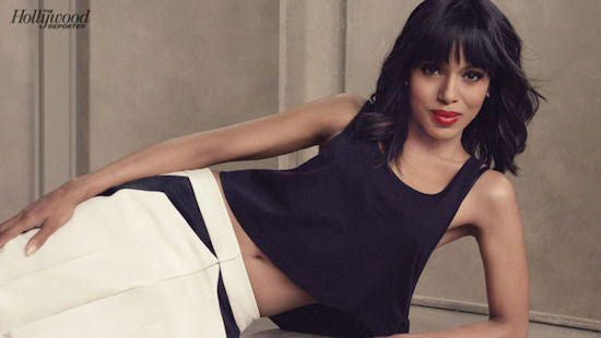 Kerry Washington covers the Hollywood Reporter in a black crop top and tuxedo pants