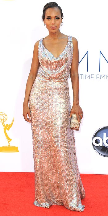 Kerry Washington glitters in a lowcut rose gold gown at the 2012 Emmy Awards