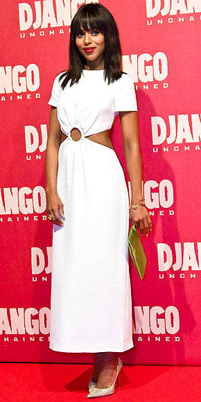 Kerry Washington hit the Rome premiere of Django Unchained in a white number with side cutouts