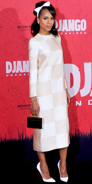 Kerry Washington is sweet in a checkered Louis Vuitton sheath and VC Signature clutch