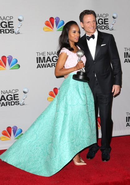 Kerry Washington poses with her onscreen leading man Tony Goldwyn
