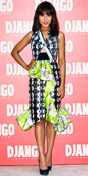 Kerry Washington stepped out of the box in a dramatic and ruffled multi print Peter Pilotto dress