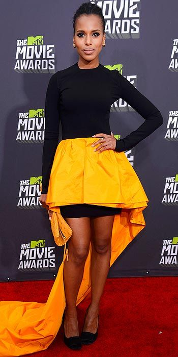 Kerry Washington went for bold color and cut in her black and yellow number while attending the MTV Movie Awards