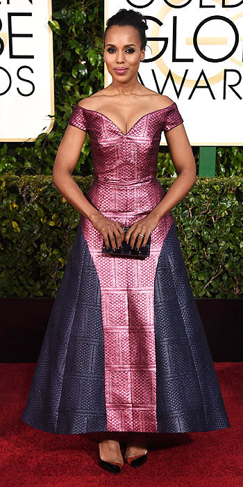 Scandal star Kerry Washington also went for an embroidered bust in a salmon colored Miu Miu gown
