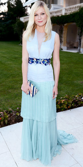 Kirsten Dunst attended the amfAR gala in powder blue Louis Vuitton