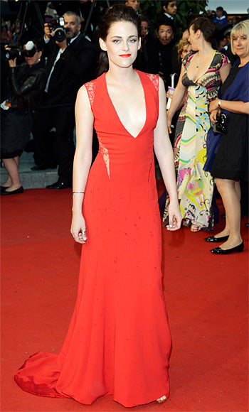 Kristen Stewart atended the Cannes premiere of Cosmopolis in a plunging Reem Acra gown