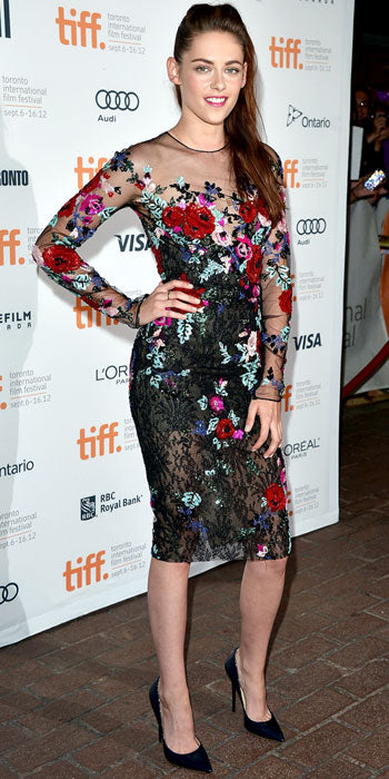 Kristen Stewart attended the Toronto premiere of On The Road in a hand-beaded floral Zuhair Murad number