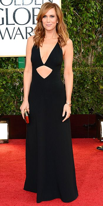 Funny lady Kristin Wiig's black dress with stomach cutout was a huge miss