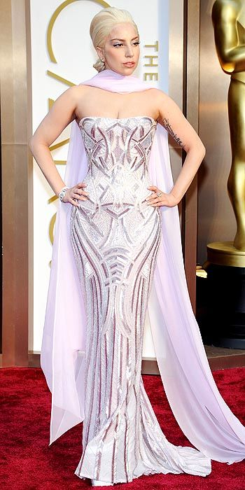 Lady Gaga also joined the metallic party in an embroidered lavender gown