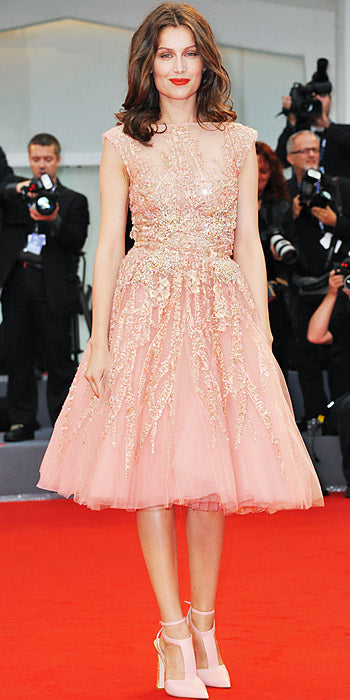 Laetitia Casta stuns at the Venice Film Festival premiere of The Master in a tulle Elie Saab Couture cocktail dress