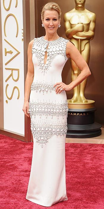 Lara Spencer in an embroidered white gown