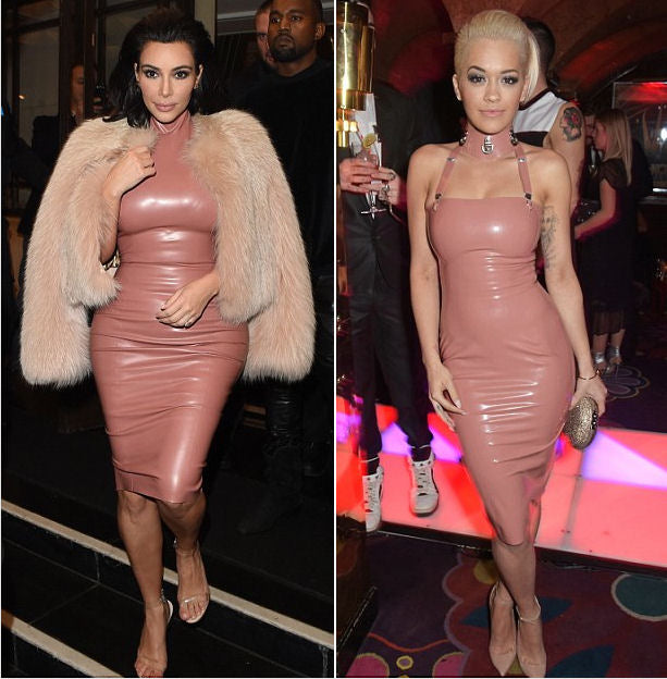 Latex dresses are trending this week in Hollywood. BOth Kim Kardashian and Rita Ora sported the same pink latex look.