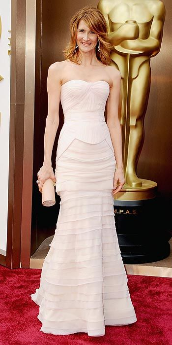 Laura Dern in a tiered white gown