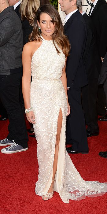 Lea Michele also sparkled in a beaded Elie Saab number