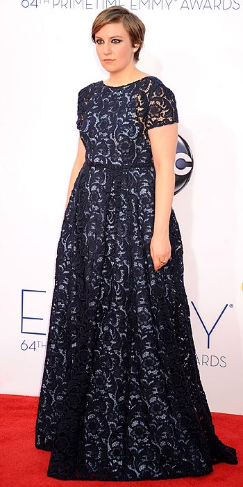 Worst Dressed: Lena Dunham's navy lace dress overwhelmed the triple nominee