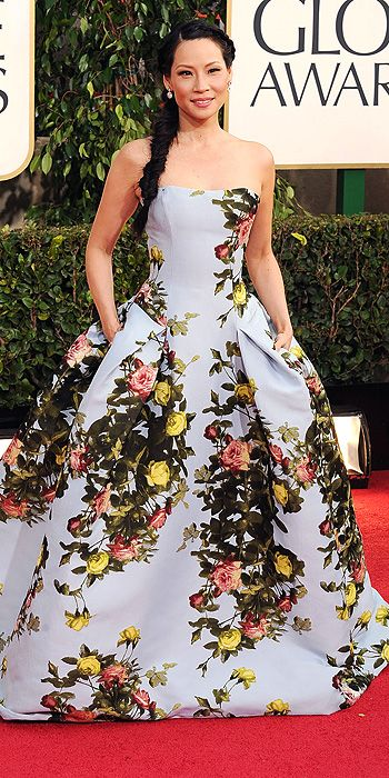 We love Lucy Liu for stepping out of the box but her attempt at a floral print ball gown fell flat.