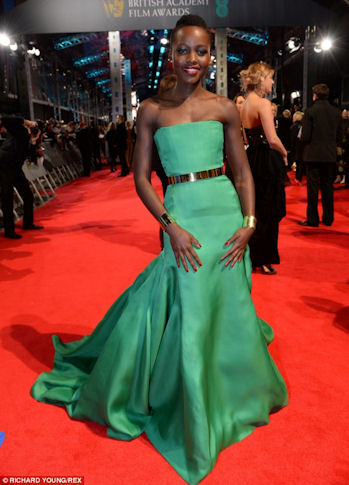 Lupita was all class while attending the BAFTA's in an emerald green Dior strapless number.