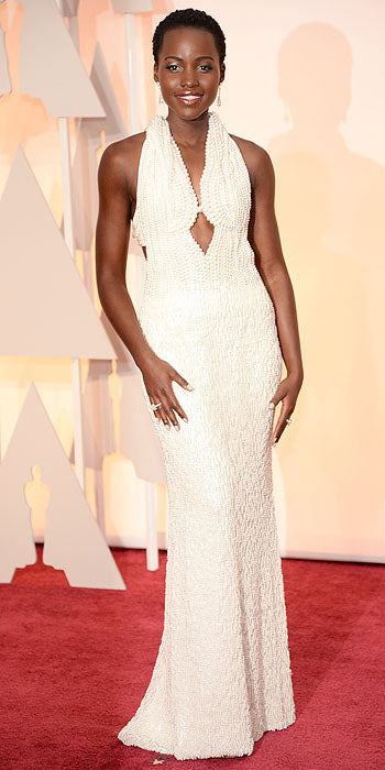 Talk about being draped in class. Lupita Nyong'o's custom Calvin Klein Collection featured more than 6000 pearls.