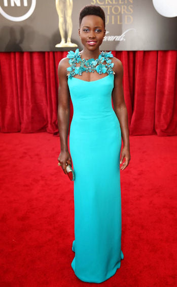 Radiant in turquoise blue Gucci at the Screen Actor's Guild Awards.