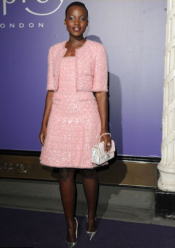 Pretty in pink Chanel at the BAFTA nominees awards dinner.