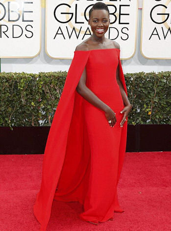 In a caped Ralph Lauren number at the Golden Globe Awards.