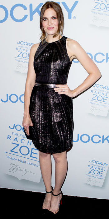 Mandy Moore stopped by the Rachel Zoe for Jockey event in a metallic Lela Rose dress