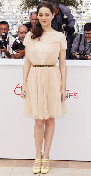 Marion Cotillard attended the De Rouille et D'os photo call in a gorgeous pleated pink chiffon Christian Dior dress