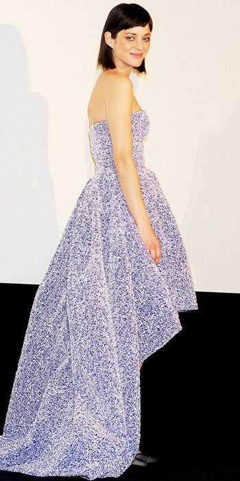 Marion Cotillard premiered Rust and Bone in a dramatic floral asymmetrical Dior dress