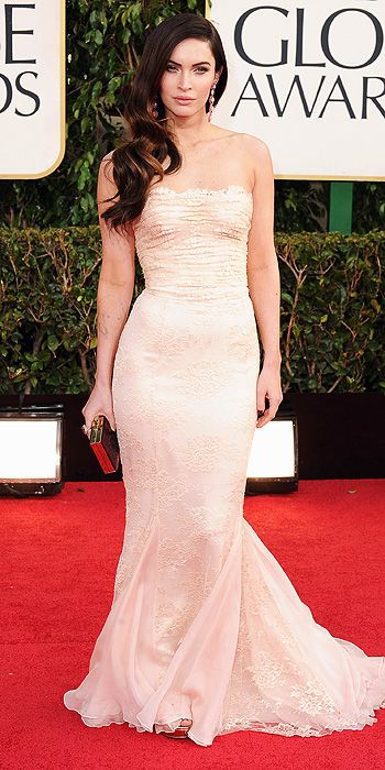 2013 Golden Globe Awards - Megan Fox opts for nude lace in Dolce and Gabbana