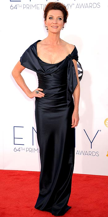 Game of Thrones' Michelle Fairely looked beautiful draped in a black silk gown at the 2012 Emmy Awards