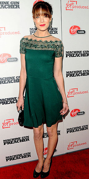Michelle Monaghan in an emerald green Valentino dress