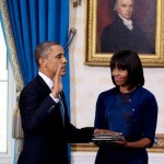 Michelle Obama went for Navy blue Reed Krakoff at the inauguration ceremony at the White House