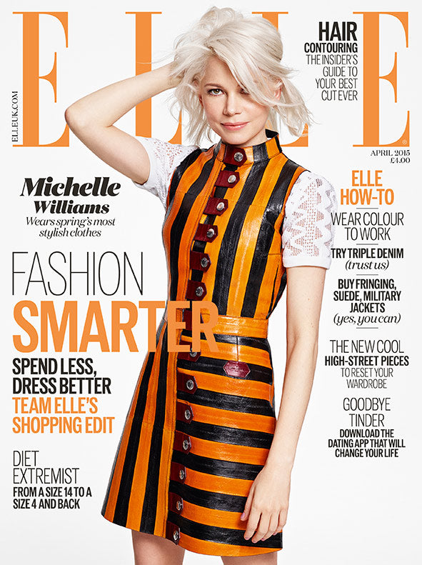Bold color and stripes take center stage. Michelle Williams on the April cover of Elle UK.