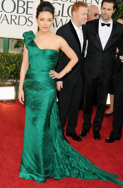 Mila Kunis joined A-list company in this custom emerald green Vera Wang