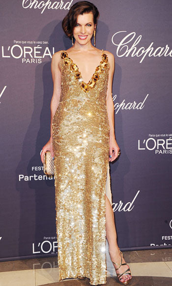 Milla Jovovich is a golden Prada girl at the Grisogono party