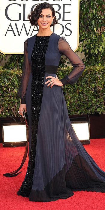 Morena Baccarin's navy and black pleated number did nothing for the actress