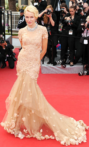 Naomi Watts attends the premiere of Madagascar 3 in a feather embellished Marchesa gown