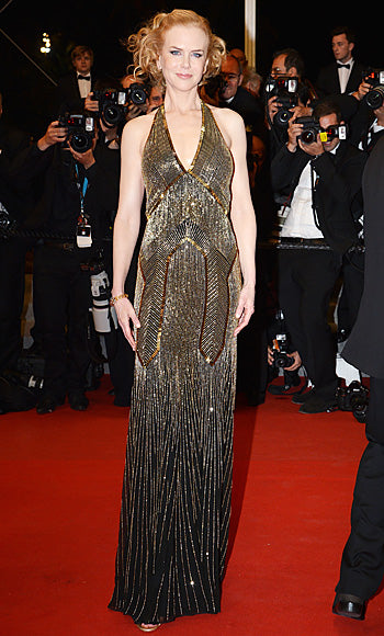Nicole Kidman glittered in a beaded Ralph Lauren gown at the premiere of Hemingway and Gellhorn