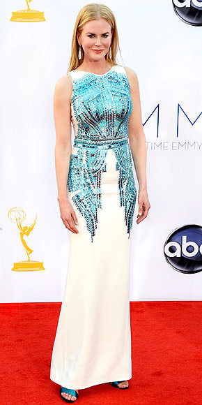 2012 Emmy Awards Worst Dressed - Nicole Kidman's embellished Antonio Berardi column down was a departure from her usually impeccable Couture