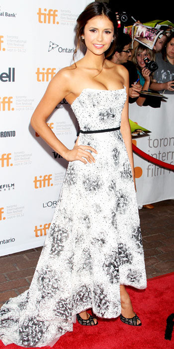 Nina Dobrev premiered The Perks of Being a Wallflower in a strapless Monique Lhuillier gown
