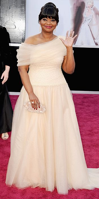Octavia Spencer looked lovely in a champagne colored tulle number
