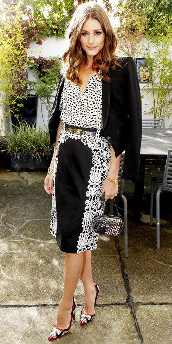 Olivia Palermo attended a Mont Blanc event in successfully combined black and white prints
