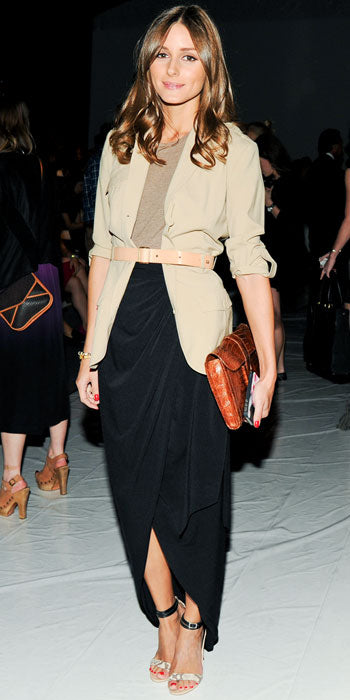 Olivia Palermo attends the Rachel Zoe show in a stylish look featuring a belted shirt and draped maxi skirt