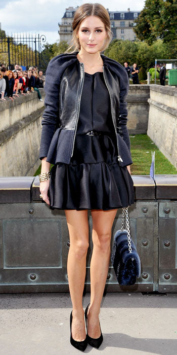 Olivia Palermo goes for head to toe black Dior at the fashion house's show in Paris