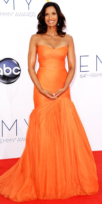 Padma Lakshmi attends the 2012 Emmy Awards in gorgeous orange