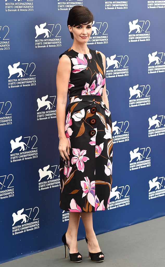 Paz Vega in a printed Salvatore Ferragamo sheath.